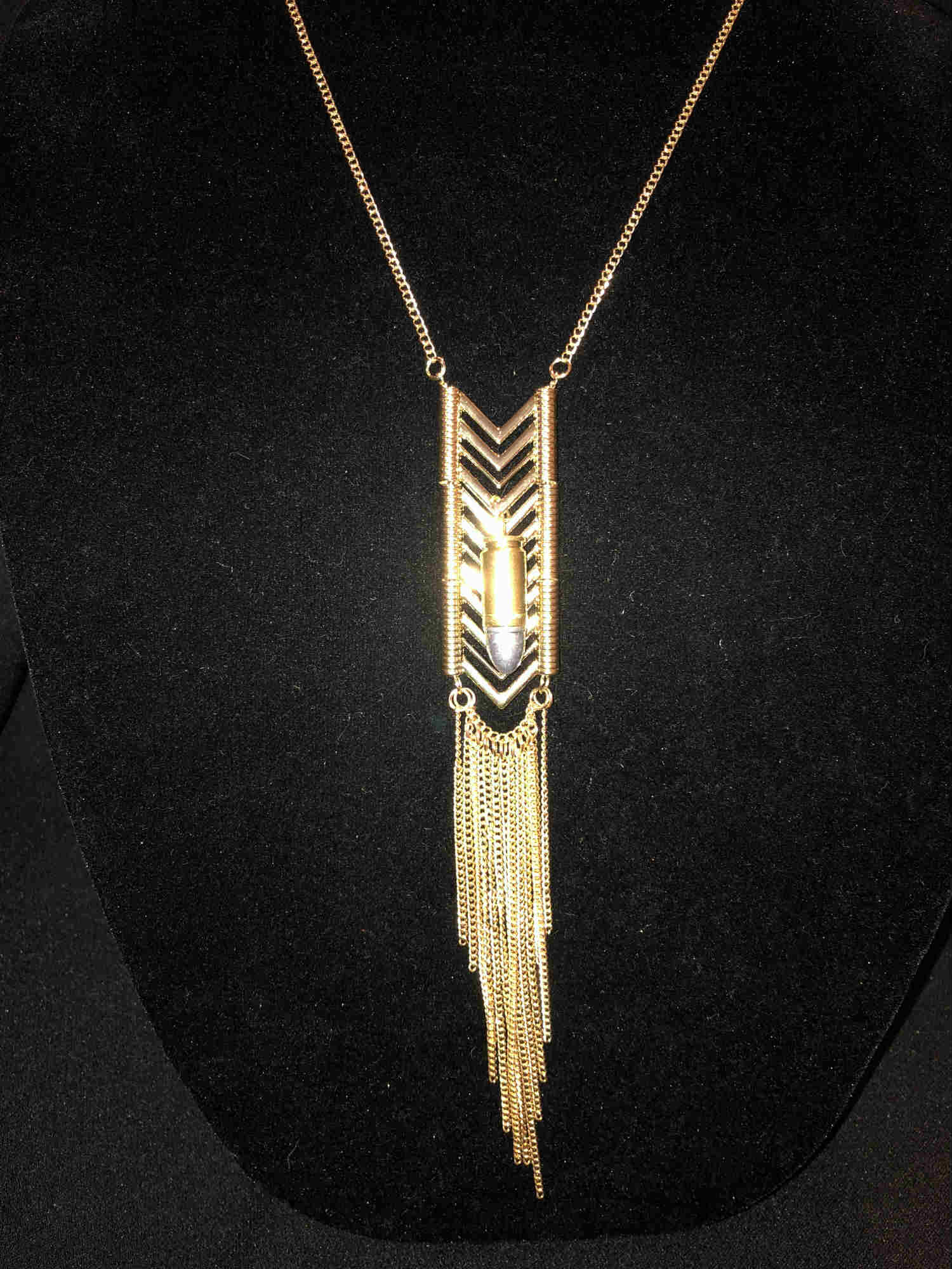 Gold Feather 36 inch adjustable gold tone metalwork with .9mm caliber bullet