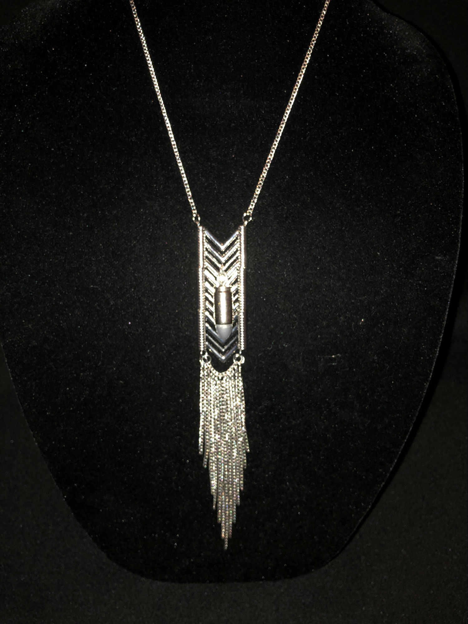Silver Feather 36 inch adjustable chain and stainless metalwork with .9mm bullet