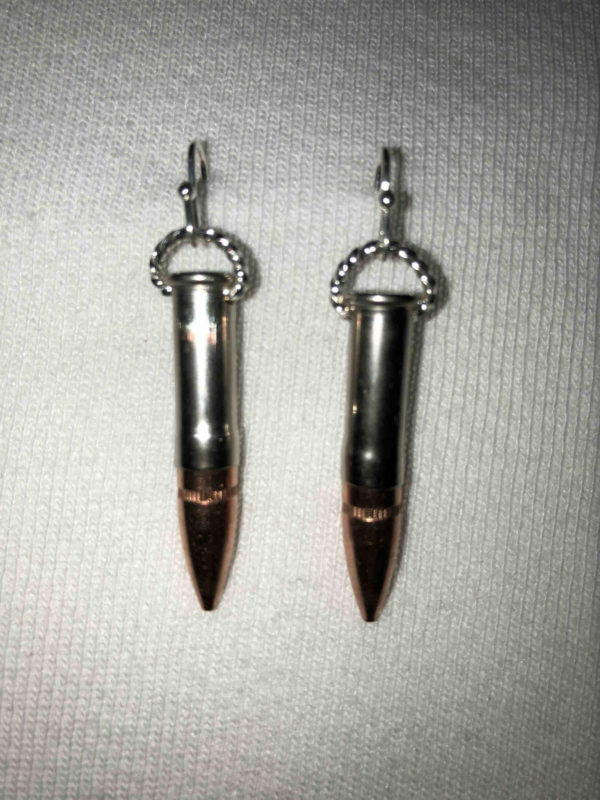 Sterling Silver french hooks hold this custom combo- .233 tips in a .22 caliber nickel bullets.